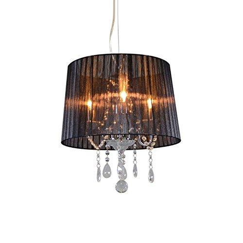 QAZQA Klassisch/Antik/Landhaus/Vintage/Rustikal/Modern Klassischer Kronleuchter/Chandelier Chrom mit schwarzem Schirm - Ann-Kathrin 3-flammig/Innenbeleuchtung/Wohnzimmerlampe/Schlafzim