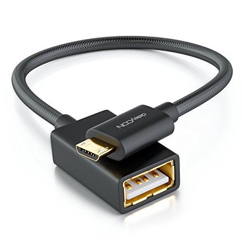 deleyCON 0,1m USB 2.0 OTG Adapter Kabel Nylon + Metallstecker - Micro USB auf USB A Buchse Datenkabel Smartphone & Tablet verbinden mit USB Stick - Schwarz - Daten-karte, Drucker Zubehör