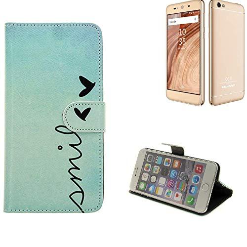 K-S-Trade® Für Blaupunkt SL02 Wallet Case Schutz Hülle Flip Cover Tasche ''Smile'', Türkis