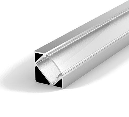 Preisvergleich Produktbild Set: LED Profil,  100cm Profil LED 45° für LED Streifen,  Aluminium LED Profil + Abdeckung (Transparent) LT3