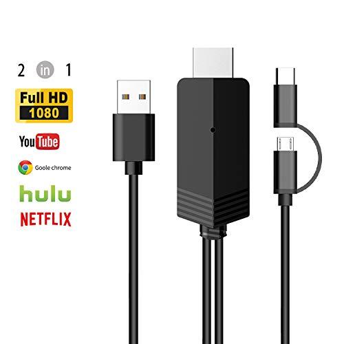 MiraScreen Cable Display Cable de Pantalla de Espejo USB a HDMI con Micro-USB Doble y Tipo C 2 en 1 de Full HD 1080P para Dispositivo Android 4.4+ Dispositivo AV Digital móvil de 2M de Longitud