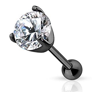 Piercingfaktor Piercing Ohr aus Chirurgenstahl Helix Tragus Ohrpiercing Cartilage Barbell Stecker mit Kristall Schwarz 5mm