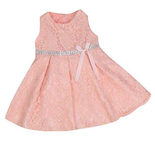 Mädchen Prinzessin Kleid, Dasongff Baby Mädchen Spitzen Blumenmädchenkleid Kinder Festlich Hochzeits Kleid Prinzessin Brautjungfern Partykleider Festzug (110, Rosa) (Mädchen Slip 3 4t)