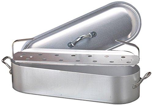 Pentole agnelli fama1850 pesciera con orlo, coperchio e griglia, con 2 maniglie, in alluminio bltf, finitura opaca, tipo economico, argento, 50 cm