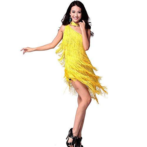 Latein Tanz Kleider Kostüme - Latin Tänze Walzer Tango Swingtanz Party Salsa Dekoration Accessoires Pailletten Quasten Wettbewerb Ball Rock Trikot Tanzkleid für Damen Mädchen - Polyamidfaser (Gelb) (Latein Gesellschaftstanz Kostüm)