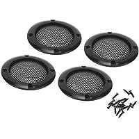 Akozon 4pcs Rejilla de altavoz de audio Rejilla de audio decorativa protectora Rejilla de malla 2 pulgadas(Negro)