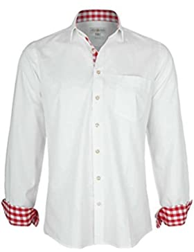Almsach Herren Hemd Slim Fit Weiß mit Karierten Details Rot, Weiß-Rot,