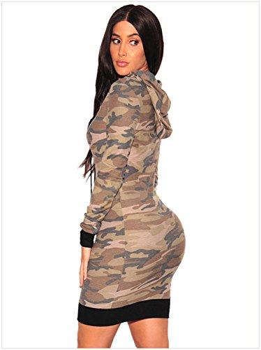 Moda Hoodie con Cappuccio Incappucciato a Maniche Lunghe Militare Camo Camouflage Mini Bodycon Aderente Fasciante Felpe Sportive Dress Vestito Abito Esercito verde Esercito verde