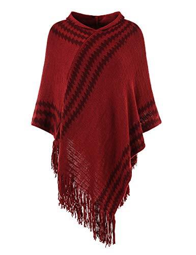Hooded Knit Poncho (Ferand Damen Mit Kapuze Zigzag Striped Knit Cape Poncho Pullover mit Fransen Einheitsgröße Burgund)