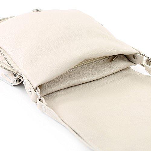 modamoda de - ital. Ledertasche Damentasche Umhängetasche Messenger Crossover Leder T06 Creme