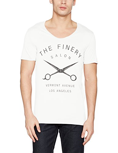 SELECTED HOMME Herren T-Shirt Shxsaloon Ss O-Neck Elfenbein (Egret Print:Print W. The Finery)