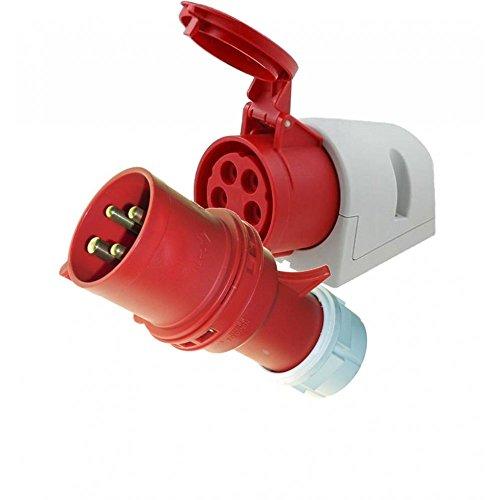 415V 32 Amp 4 Pin Plug & Panel Socket Red Garage Workshop 3 Phase