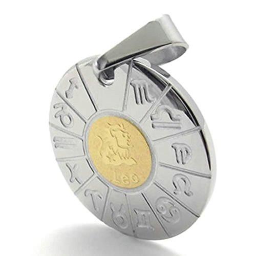 Bishilin Edelstahl Bicolor Runde Tag Zodiac Leo Unisex's Halsketten Anhänger 26 Inch für Herren mit Gravieren (Kostüme Australien Engel)