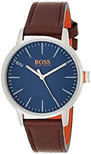 Hugo Boss Men's Blue Dial Genuine Leather Band Watch - 155