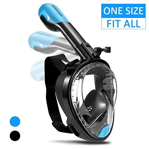 Supertrip Tauchmaske Faltbare Schnorchelmaske Vollmaske mit Abnehmbarer Kamerahalterung 180° Sichtfeld Anti-Fog Easybreath Vollgesichtsmaske für Erwachsene Junge Unisex Schwarze