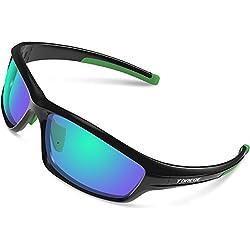 Gafas de sol deportivas Torege TR90 polarizadas para hombres y mujeres, para ciclismo, correr, pescar, jugar al golf, montura irrompible, TR034, Black/Green tips&Green lens