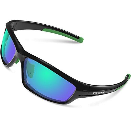 Torege tr034 - occhiali da sole polarizzati sportivi, unisex, con telaio infrangibile in tr90, per ciclismo, corsa, pesca e golf, tr034, black/green tips&green lens