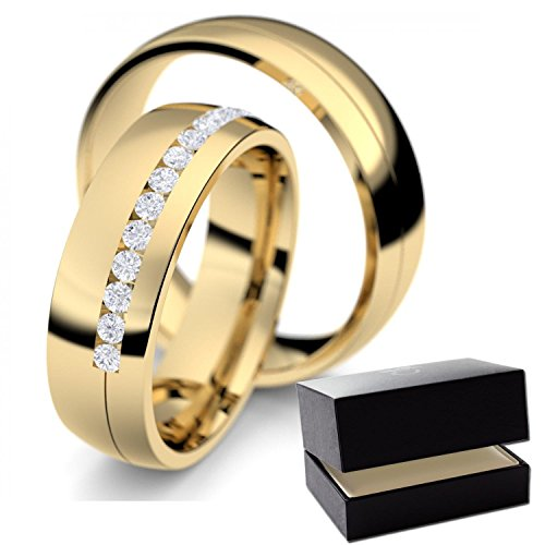 Gold Eheringe / Trauringe Zirkonia