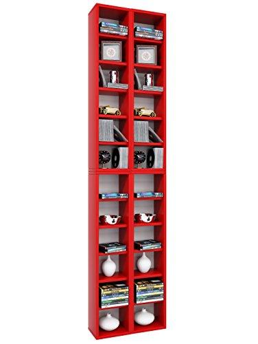 VCM Regal DVD CD Rack Möbel Aufbewahrung Holzregal Standregal Sammelregal Anbauprogramm Rot