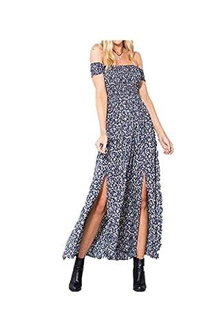 Women's Summer Sexy Short Sleeve Strapless Floral Print Long Dress Off Shoulder High Split Hem Boho Maxi Beach