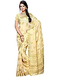 Mimosa Women's Chiffon Saree With Blouse Piece (2098-Hwt,Off White,Free Size)