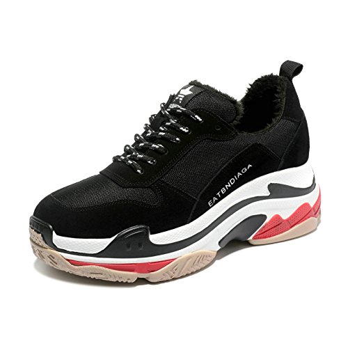 JRenok Chaussure de Sport Femme Basket Mode waling Running Cuir Sneaker Résistant à L'Usure Antidérapante 35-39 Noir