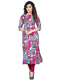 M.Tex Women's Pink Color Round Neck And Elbow Sleeve Cotton Printed Kurti