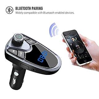 Jamicy® Bluetooth FM Transmitter, KFZ Auto Radio Adapter Freisprecheinrichtung Car Kit Mit Dual USB-Port, Unterstützung, um U-Disk-Speicher bis zu 32G zu Lessen, Kreative Autoteile (Lila)