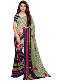ANNI DESIGNER Georgette with Blouse Piece Saree (Aakruti-120-1_Green_Free Size)