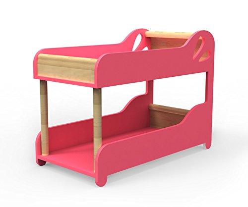 MOOVER Designer Puppenbett aus Holz - Puppenhochbett - in rosa - 52 cm! (Monster High Puppen Bett)