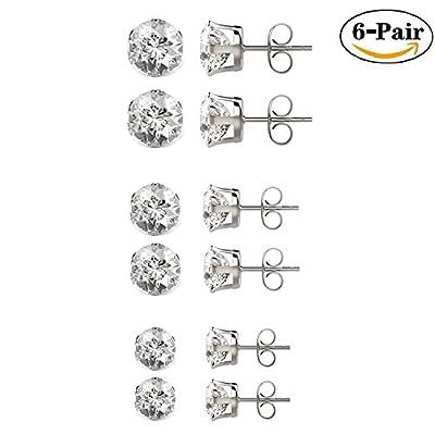 Besjewel Stud Earrings Set 3mm-5mm Hypoallergenic Surgical Stainless Steel Earings for Womens, 6 pairs …