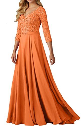 Sunvary Damen V-Neck Arm Brautmutterkleider Lang Chiffon Abendkleider Ballkleider Stein Paillette Orange