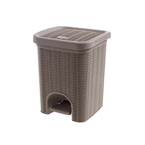 ZXL Fußprofil Mülleimer Nachahmung Rattan Wohnzimmer Kleine Papierkorb Haushalt Bad Küche Abgedeckter Müll (Farbe: Schwarz)