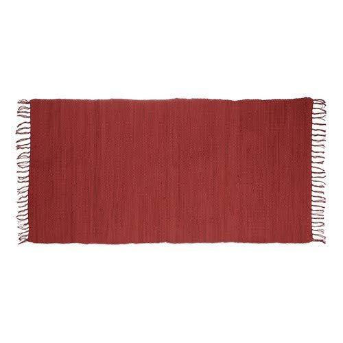 Relaxdays Flickenteppich rot 70 x 140 cm mit Fransen aus 100 {66bf59e7010745c64be0cd185e2431b85bbcfad662dc04c98e808736ade48825} Baumwolle, einfarbig, Fleckerlteppich, red