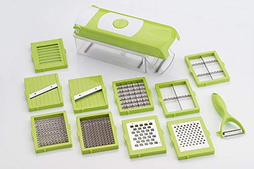 ALLWIN's Platinum 12 in 1 Vegetable Cutter - Chopper, Chipser, Grater, Slicer Dicer, Peeler - All in One (Green & White) Unbreakable