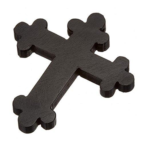 Ciondolo grande croce ortodossa in legno nero intagliato a mano 45x 52mm Anello