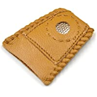 Hrph Cuero sintético de la moneda de herramientas de costura dedal con punta de metal DIY hecho a mano de la costura de la cubierta del dedal