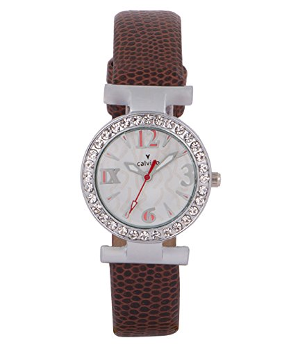 Calvino Women's Brown Leather Strap White Dial Wrist Watch