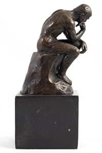 Art Deco Hot Cast Bronze - Thinker - Marble Base Nude Male Figure A Rodin