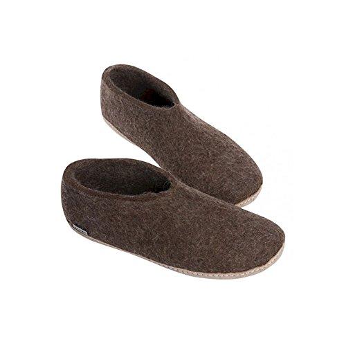 Glerups - Chaussons en laine gris foncé - Marron