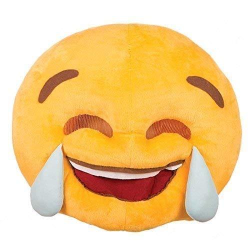 Emoji lachend mit Tränen / Smiley Vollmaske Plüsch / Stoffmaske / Kostüm Zubehör für Erwachsene ()