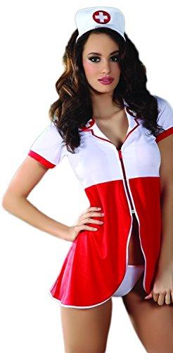Livia Corsetti Livco scharmantes Krankenschwester-Kostüm als Dessous-Set aus Negligee Mütze und String in toller Geschenkbox, weiß/rot, Gr. (Rote Kostüme Krankenschwester)