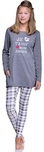 Cornette Jugend Schlafanzug Amour(Dunkel Melange/Weiß, S/164)