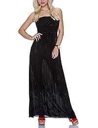 Bandeau Maxikleid trägerlos rückenfrei Sommerkleid Kleid lang Schwarz Baumwolle