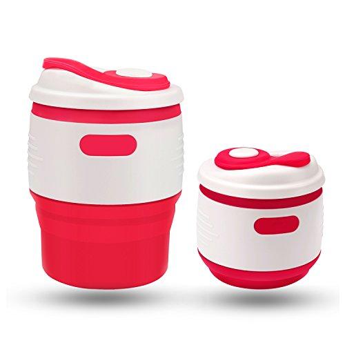 MAVIE Portable Tasse à café Mug Pliable Coque en Silicone Handy Rétractable Mug isotherme de qualité alimentaire PP Portatif Travel Mug 350ml, Idéal pour la lecture Randonnée Camping en plein air (Rouge+Blanc)
