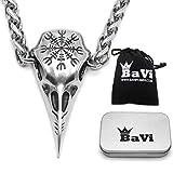 BaviPower Huginn Collar con Colgante de Calavera de Cuervo con el símbolo...