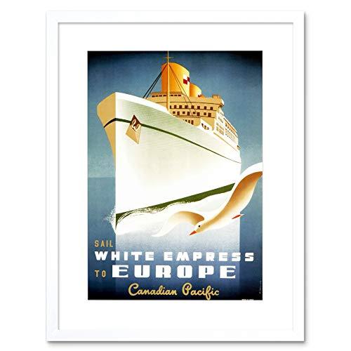 TRAVEL OCEAN LINER WHITE EMPRESS SHIP BOAT GULL CANADA FRAMED PRINT B12X12401 (White Empress)