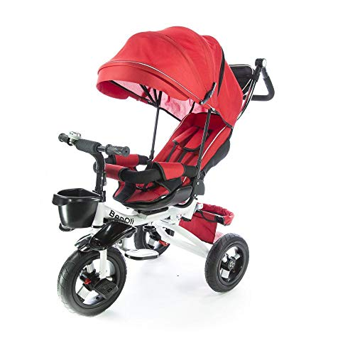BenOli Dreirad 4in1✔Buggy und Schiebewagen in einem✔Kinderdreirad Kinder Fahrrad ✔Kinderwagen mit lenkbarer Schubstange ✔klappbares, ✔flüsterleise Gummireifen und Sonnendach, ✔4-Fach Umbau (Rot)