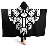 Wanitems Manta con Capucha Gamer Heart Blanket Novelty Sherpa Plush Throw Wearable Fleece Blanket Fuzzy Blanket for Couch Sofa 50'' x40