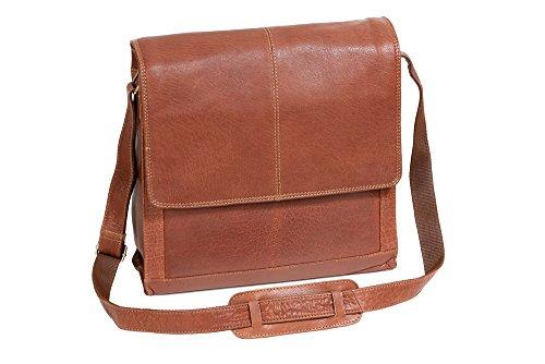LEAS Messenger/Aktentasche/Lehrertasche aus Büffelleder für große Ordner/Notebooks Buffalo, dark cognac -